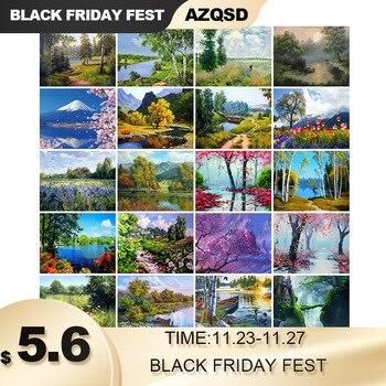 AZQSD DIY 50x40 см Краски по номерам для пейзажей украшения дома картина маслом Краски ing по номерам полный набор для взрослых