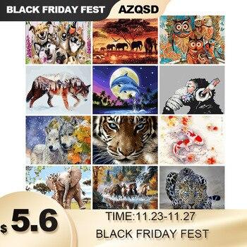 AZQSD Животные картина маслом по номерам для взрослых краски по номеру Холст Картина Наборы 50x40 см DIY подарок Декор для дома