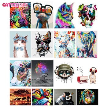 GATYZTORY 60x75 см рамка Diy масляная цифровая краска от бамперов наборы животных абстрактная акриловая краска по номерам для взрослых домашний дек...