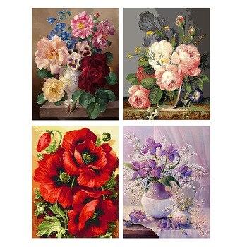 GATYZTORY DIY живопись по номерам цветы холст Рисунок Картина маслом Ручная роспись домашний Декор подарок