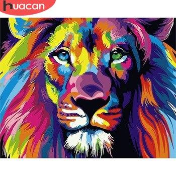 HUACAN картинки по номерам львы животные Рисование холста картины маслом по номерам наборы декор для дома Ручной росписью Подарок