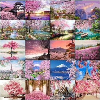 Картина по номерам HUACAN, пейзаж для рисования на холсте, ручная роспись, набор для рисования по номерам, в подарок, для творчества, для домашне...