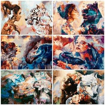 Обрамленная картина лев девушка маслом по номерам взрослых красочные краски домашнего декора картина для гостиной домашнего декора