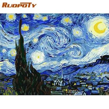 RUOPOTY рамка DIY Рисование по номерам Картина Ван Гога Звездное небо картина по номерам пейзаж настенная искусство акриловая краска для домашн...