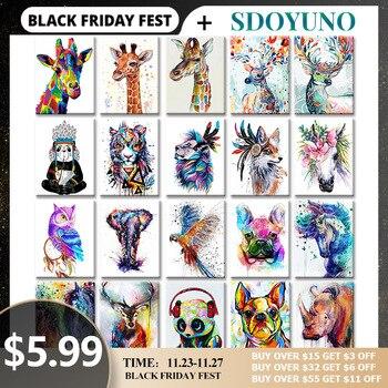 SDOYUNO 40x50 см Безрамная живопись по номерам животные рисунки на картины по номерам раскраска по номерам декор для дома рисование по номерам ук...